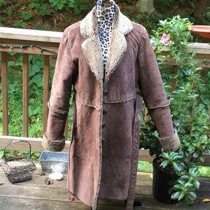 Jackets & Blazers - Vintage Long Brown Genuine Suede BoHo Hippie Coat